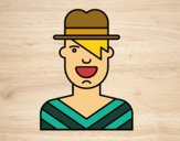 Coloring page Boy with hat painted byJakeMaster