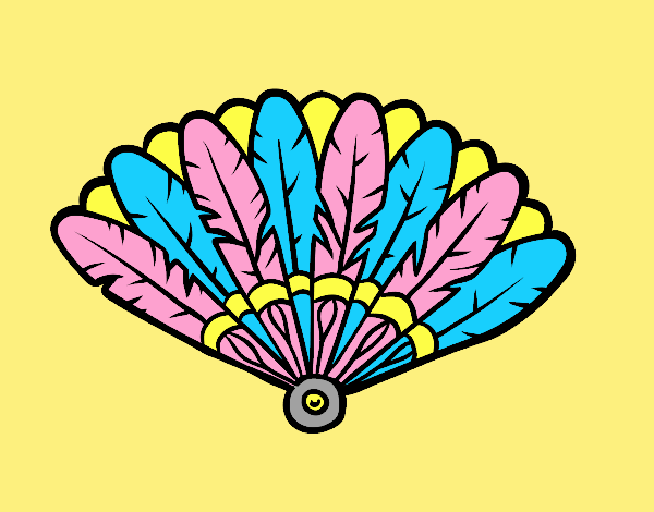 Coloring page Feather hand fan painted byLornaAnia
