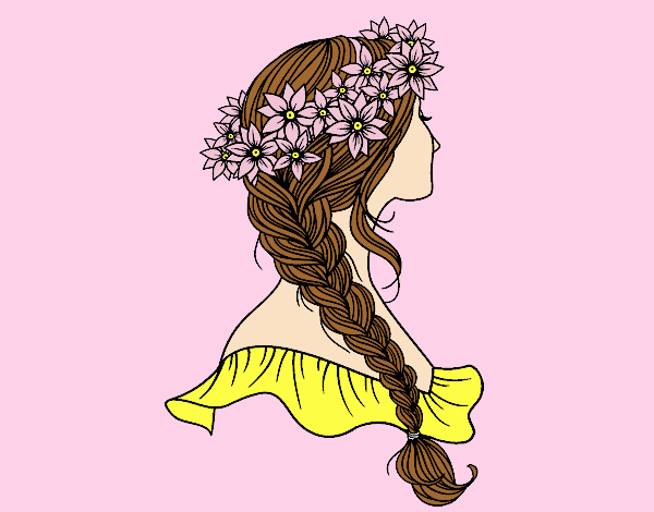 Coloring page Hairstyle with braid painted byLornaAnia