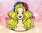 Coloring page Hairstyle with flower painted byalexadra