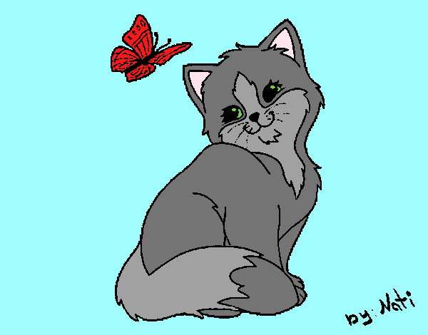 Coloring page Kitten and Butterfly painted byLornaAnia