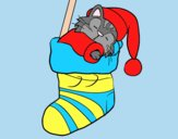 Coloring page Kitten sleeping in a Christmas stocking painted byLornaAnia