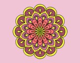 Coloring page Mandala flower and sheets painted byLornaAnia