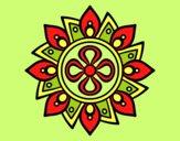 Coloring page Mandala simple flower painted byLornaAnia