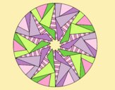 Coloring page Mandala triangular sun painted byLornaAnia