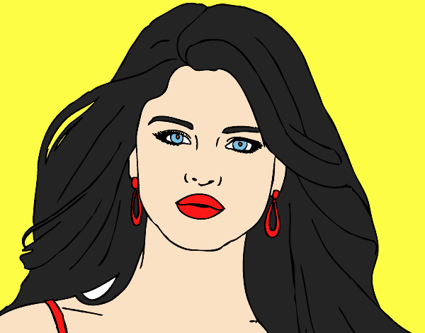 Coloring page Selena Gomez foreground painted byLornaAnia