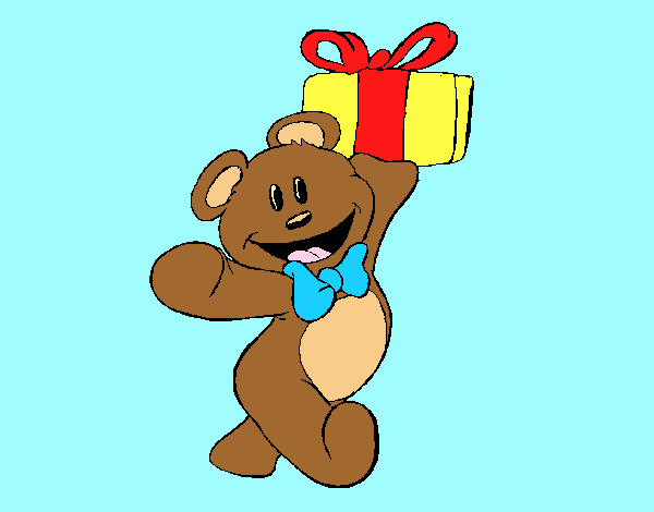Coloring page Teddy bear with present painted byLornaAnia