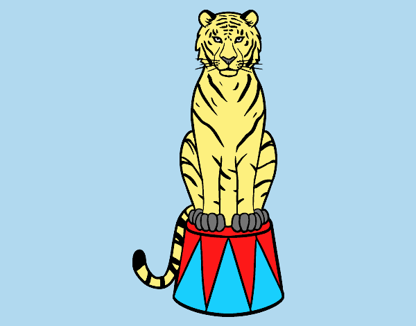 Coloring page Tiger of circus painted byLornaAnia
