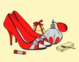 Coloring page Shoes and makeup painted byLornaAnia
