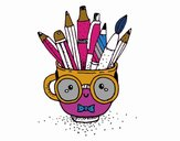 Animated cup with pencils