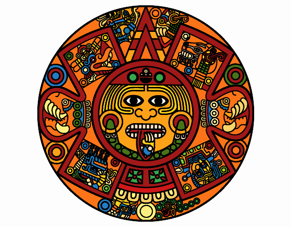 Aztec Calendar Stone.Colored Page Aztec Calendar Stone Painted By User Not Registered