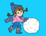 Coloring page Little girl with big snowball painted byLornaAnia