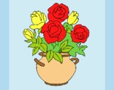 Coloring page Vase of flowers painted byLornaAnia