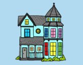 Coloring page Classical manor house painted byLornaAnia