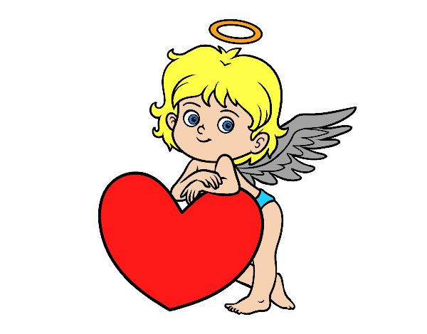 Coloring page Cupid and a heart painted bylisa2018