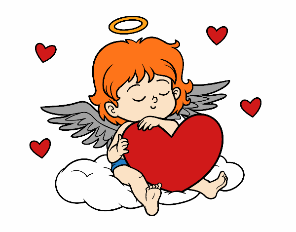 Coloring page Cupid with with heart painted bylisa2018