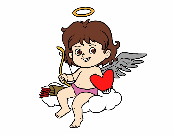 Coloring page Cupido in a cloud painted bylisa2018