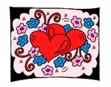 Coloring page Hearts and flowers painted bylisa2018