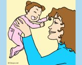 Coloring page Mother and daughter  painted byLornaAnia