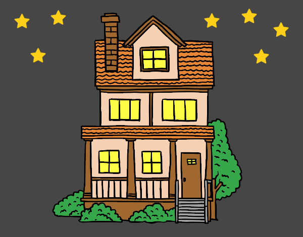 Two-story house with attic