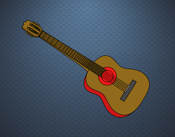 Colored page A Spanish guitar painted