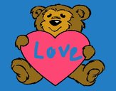 Coloring page Bear in love painted bysamg