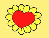 Coloring page Flower heart painted byLornaAnia