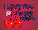 Coloring page I love you cherry much painted bysamg