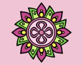 Coloring page Mandala simple flower painted byLornaAnia