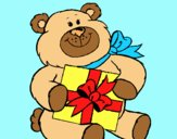 Coloring page Bear with present painted byLornaAnia