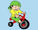 Coloring page Boy on tricycle painted byLornaAnia
