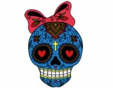 Mexican skull with bow