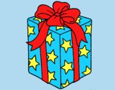 Coloring page Present wrapped in starry paper painted byLornaAnia