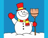 Coloring page snowman with broom painted byLornaAnia