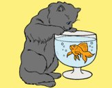 Coloring page Cat watching fish painted byLornaAnia