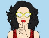 Coloring page Girl with sunglasses painted byLornaAnia