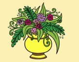 Coloring page A vase with flowers painted byLornaAnia