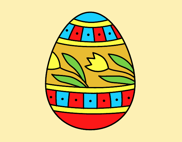 Coloring page Easter egg with tulips painted byLornaAnia