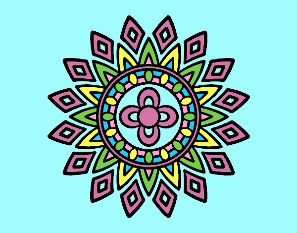 Coloring page Mandala flashes painted byLornaAnia