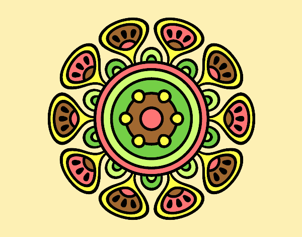 Coloring page Mandala vegetal growth painted byLornaAnia