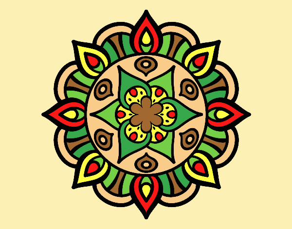 Coloring page Mandala vegetal life painted byLornaAnia