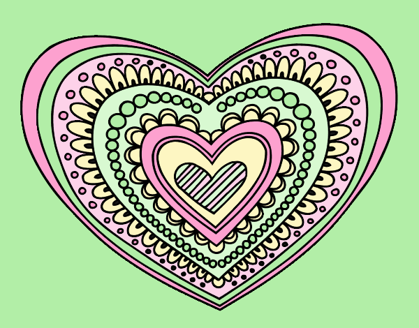 Coloring page Heart mandala painted byLornaAnia