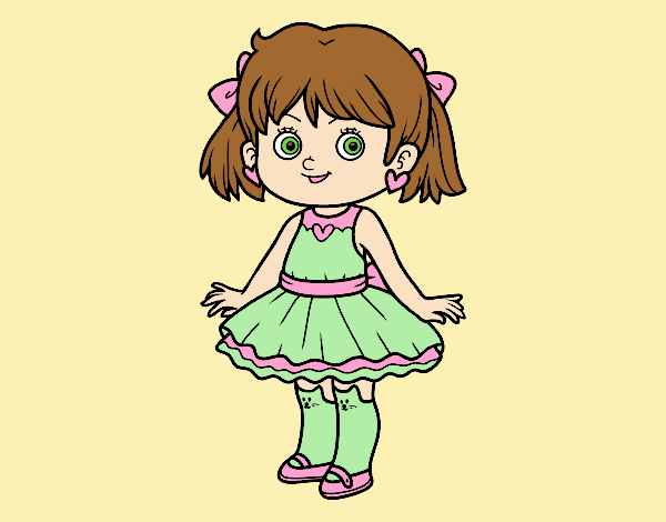 Coloring page Little girl with modern dress painted byLornaAnia