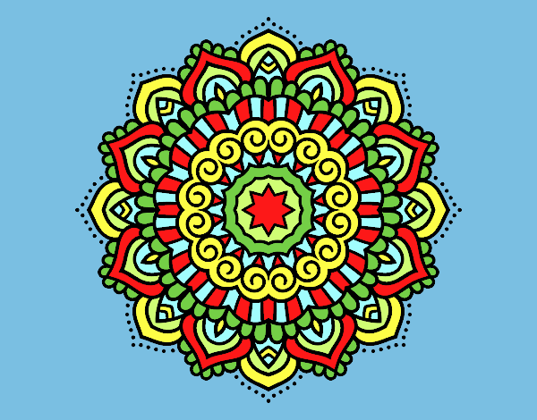 Coloring page Mandala decorated star painted byLornaAnia