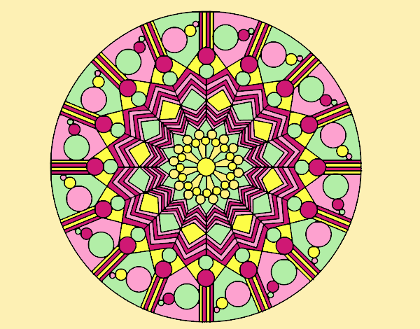 Coloring page Mandala flower with circles painted byLornaAnia