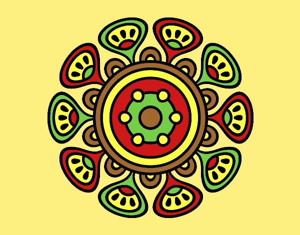 Coloring page Mandala vegetal growth painted byLornaAnia