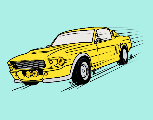 Coloring page Mustang retro style painted byLornaAnia
