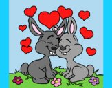 Coloring page Bunnies in love painted byLornaAnia