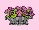 Coloring page Basket of flowers 10 painted byLornaAnia