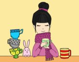 Coloring page Girl with scarf and cup of tea painted byLornaAnia